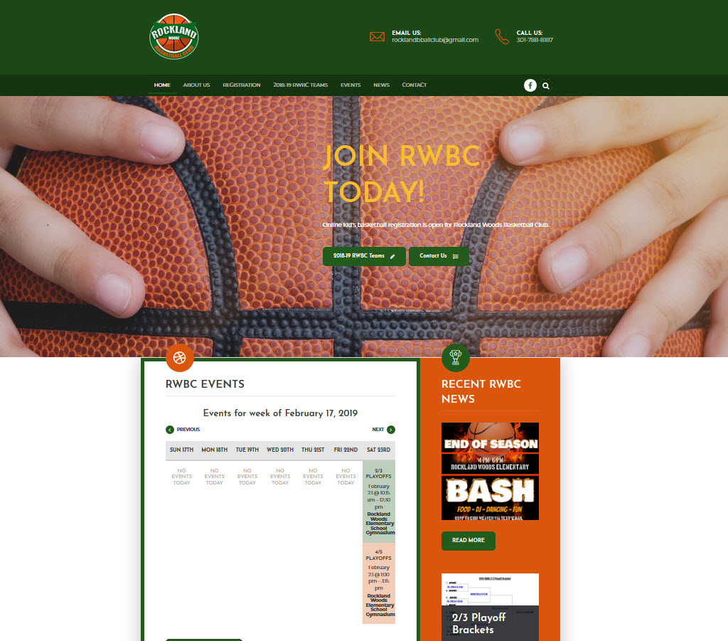 Rockland Basketball Club - NonProfit Web Design with WooCommerce