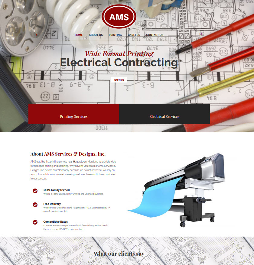 AMS Services & Designs, Inc. - Responsive WordPress Website